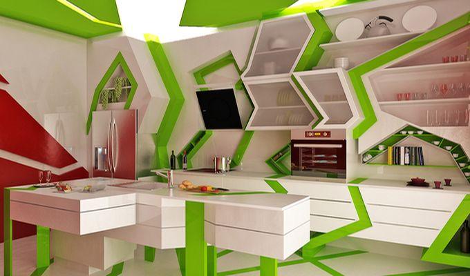 Зеленый цвет столешницы на светлой кухне