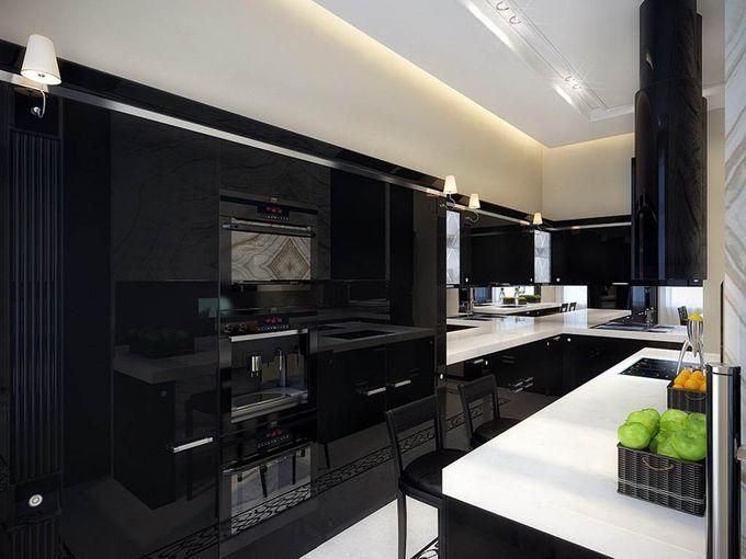 Кухня с темной столешницей: фото