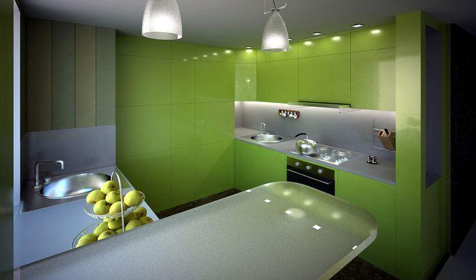 Белая кухня с зеленой столешницей