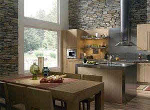 Дизайн кухни с декоративным камнем