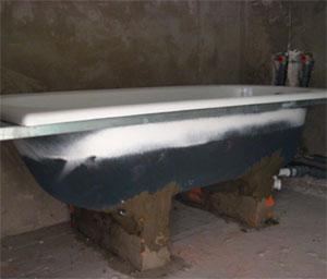 Установка ванны на кирпичное основание