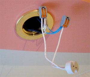 Как производится подключение точечных светильников к электросети