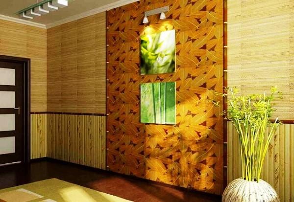 бамбуковые обои в интерьере прихожей фото 6