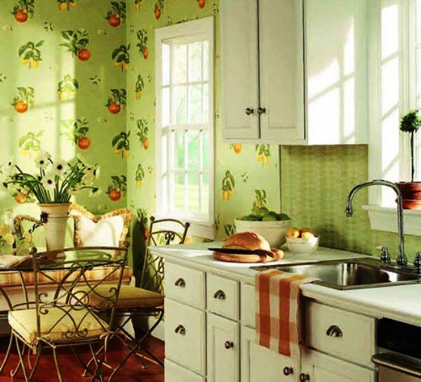 бумажные обои на кухне фото 6