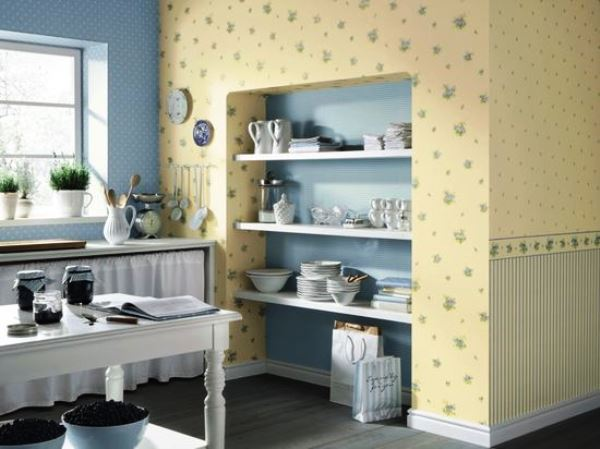 оформление стен на кухне бумажными обоями