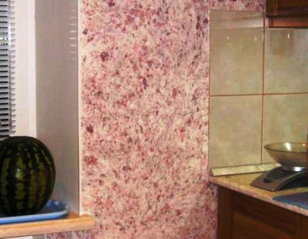 жидкие обои в интерьере кухни фото