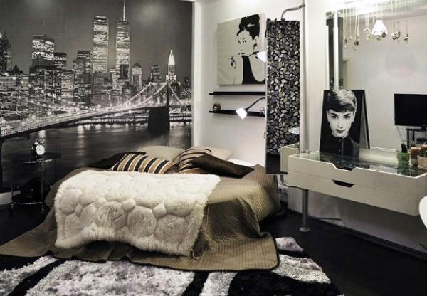черно-белые фотообои в интерьере спальни