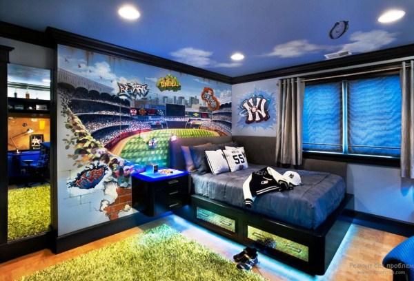 дизайн комнаты мальчика фотообоями