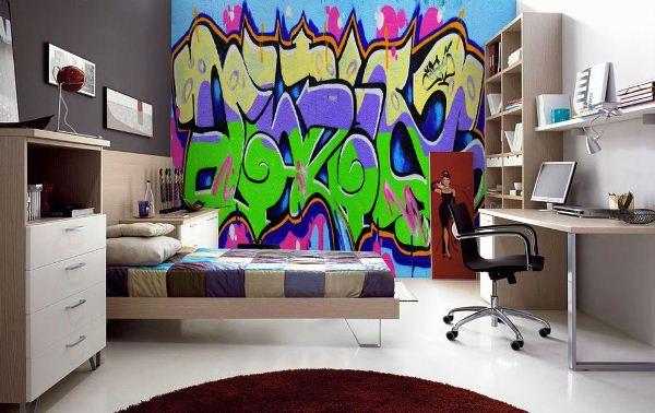 фотообои граффити в комнате подростка