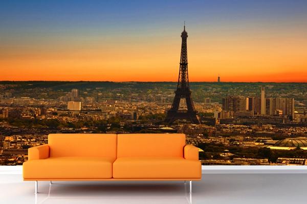фотообои ночной Париж в интерьере