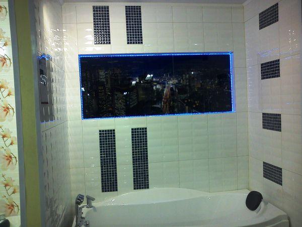 фотообои ночной город в ванной