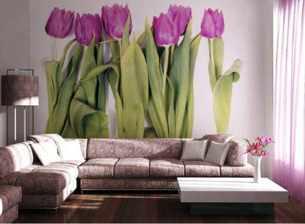 фотообои тюльпаны в интерьере