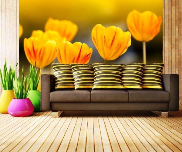 фотообои тюльпаны желтые
