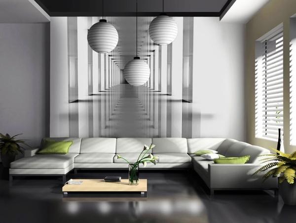 фотообои в черно-белом интерьере