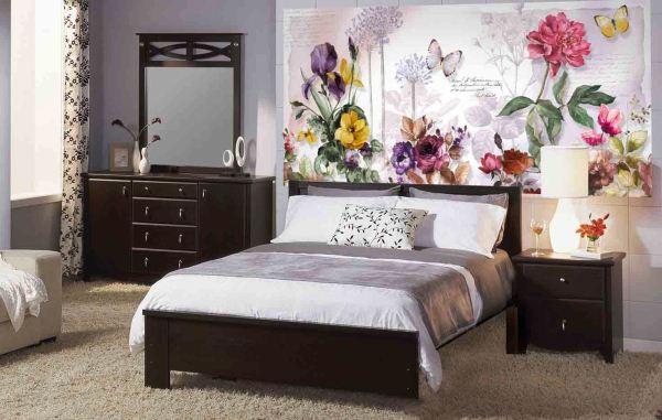 фотообои в спальне цветы фото