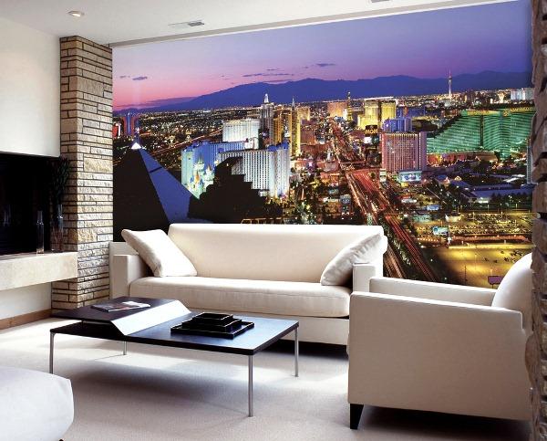 комната с фотообоями ночного города