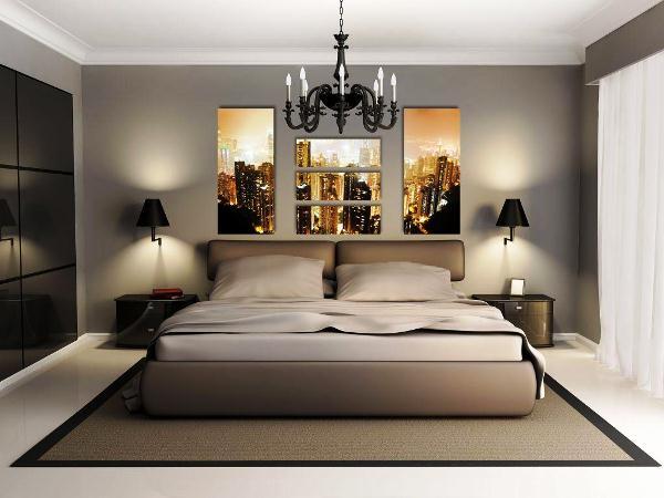 спальня с фотообоями ночной город
