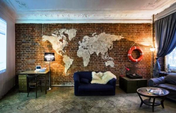 фотообои карта мира в интерьере 11
