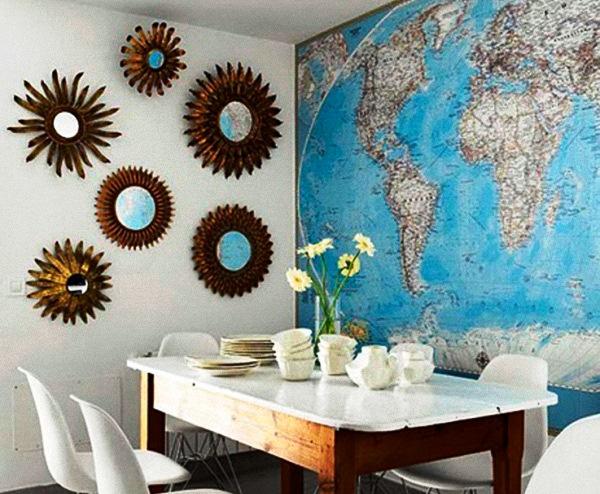фотообои карта мира в интерьере 14