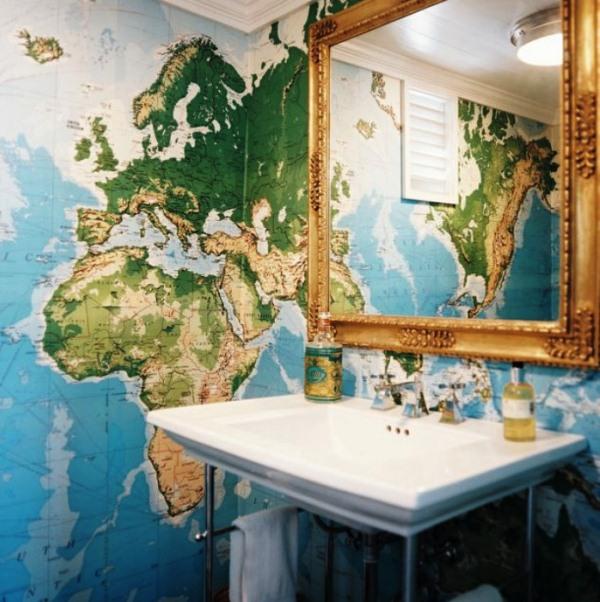 фотообои карта мира в интерьере 15