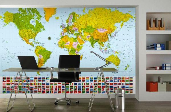 фотообои карта мира в интерьере 16