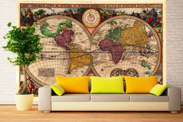 фотообои карта мира в интерьере 3