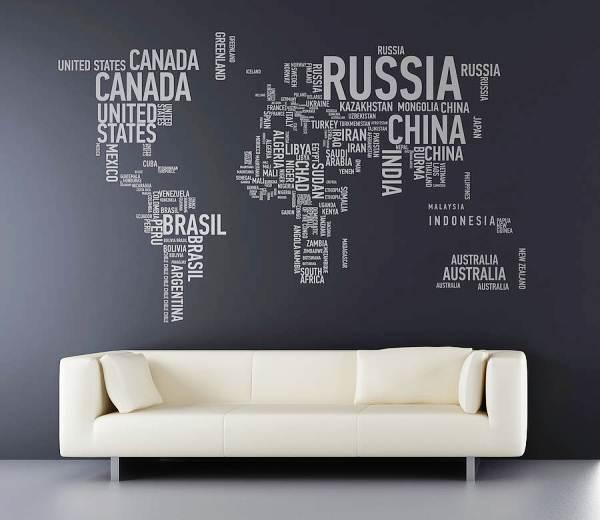 фотообои карта мира в интерьере 4