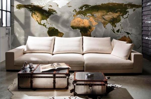 фотообои карта мира в интерьере 5