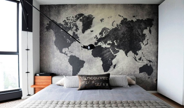 фотообои карта мира в интерьере 9