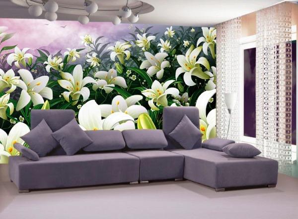 фотообои лилии на стену в интерьере