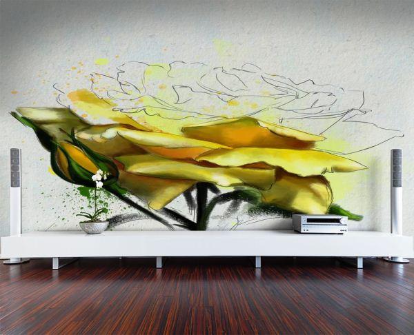 желтая роза фотообои