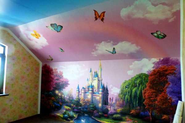 фотообои на потолок и стену