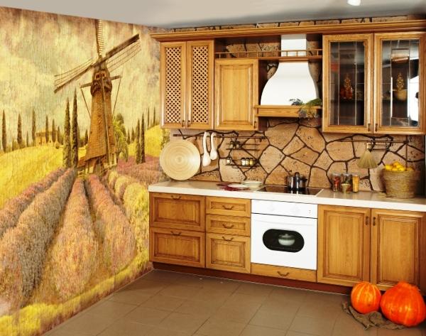 Дизайн фотообои на кухне фото