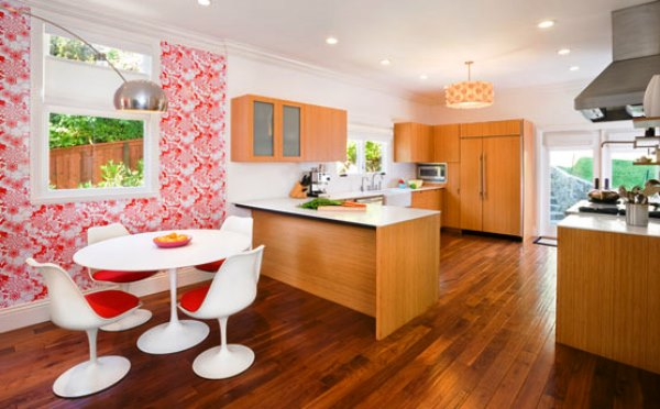 сочетание обоев на кухне фото 3
