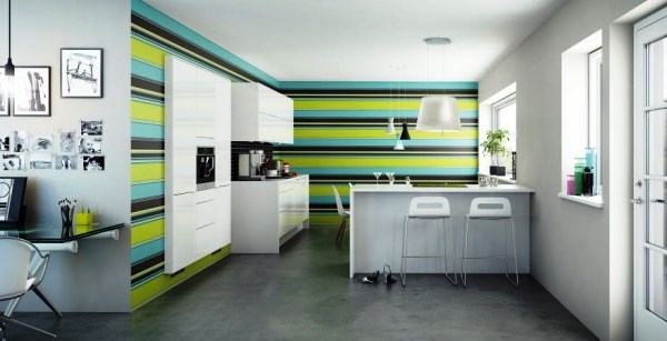 сочетание обоев на кухне фото 5