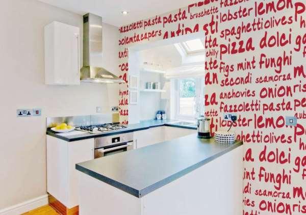 сочетание обоев в интерьере кухни