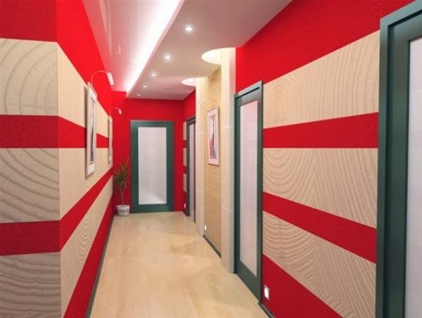дизайн коридора в квартире реальные фото комбинированными обоями
