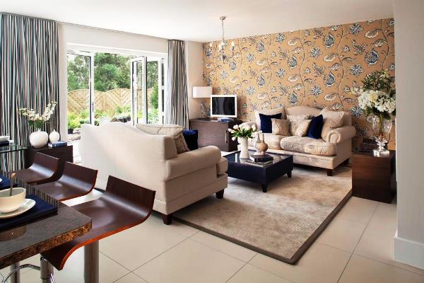 дизайн обоев для гостиной комбинированные фото