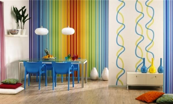 дизайн комнаты обои двух видов фото