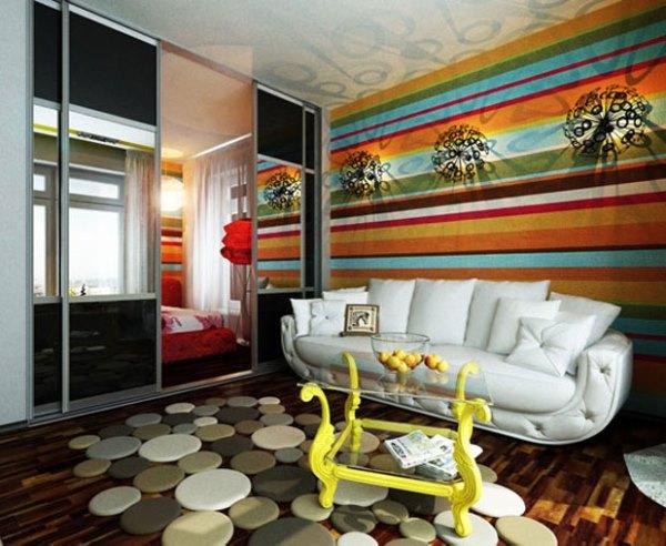 интерьер гостиной с разными обоями фото 3