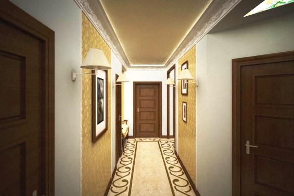 как поклеить обои двух видов в коридоре фото
