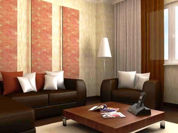 комбинация обоев в гостиной фото 5