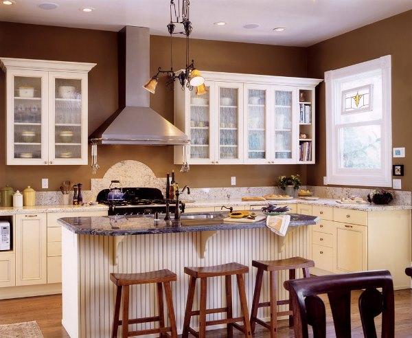 коричневые обои на кухне фото