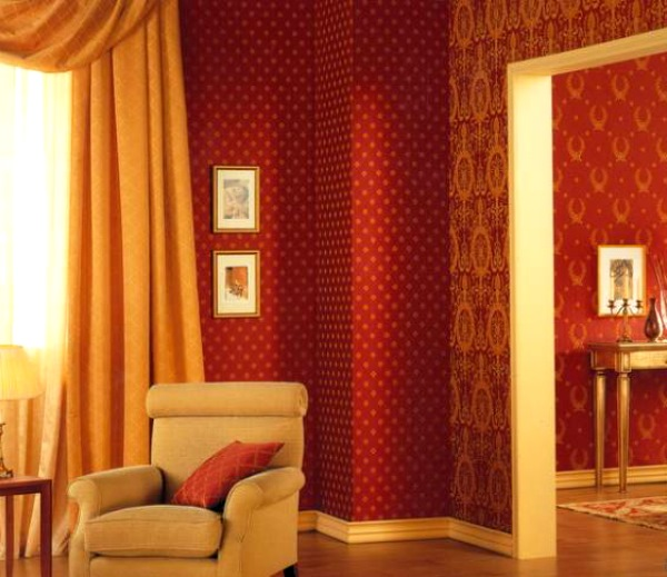 красные обои в интерьере фото 2