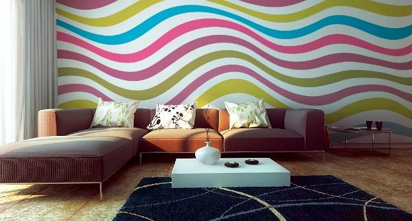 обои разных цветов в одной комнате фото
