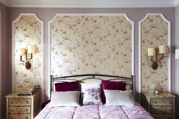 сочетание обоев в спальне фото 10