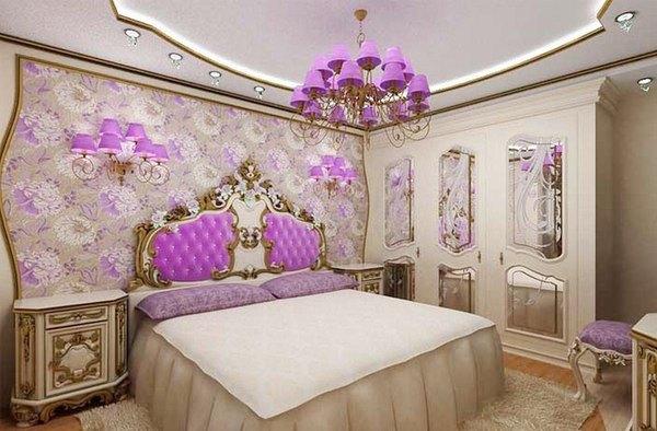 сочетание обоев в спальне фото 13