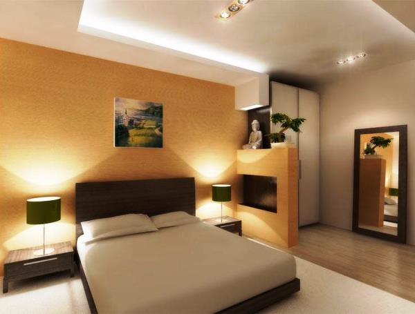 сочетание обоев в спальне фото 2