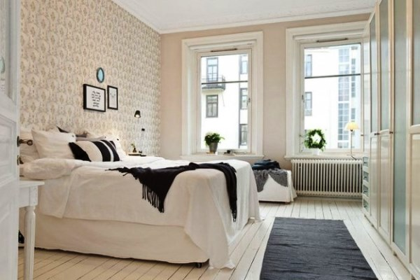 сочетание обоев в спальне фото 5