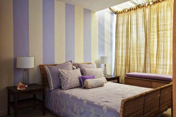 сочетание обоев в спальне фото 7